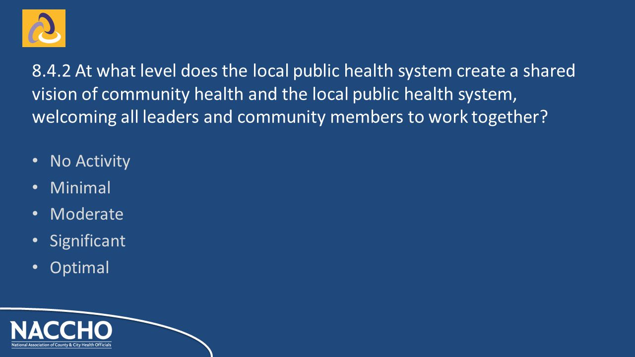 No Activity Minimal Moderate Significant Optimal At what level does the local public health system create a shared vision of community health and the local public health system, welcoming all leaders and community members to work together