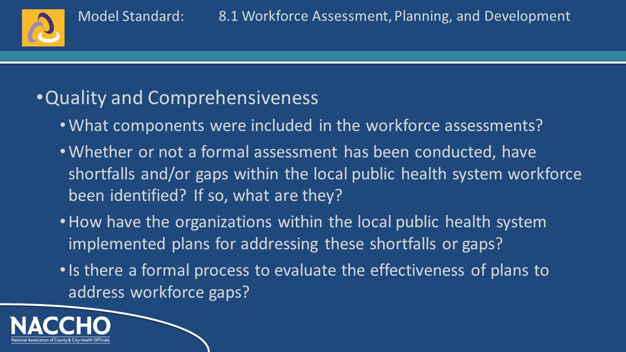 Model Standard: Quality and Comprehensiveness What components were included in the workforce assessments.