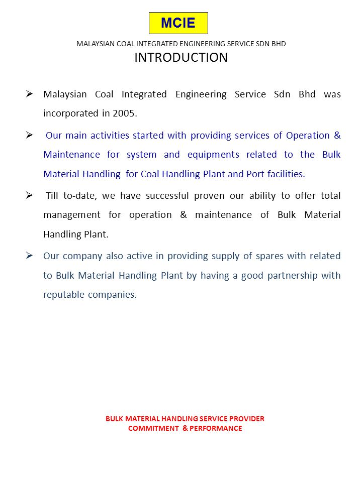 "Presentation ""MALAYSIAN COAL INTEGRATED ENGINEERING SERVICE SDN ..."