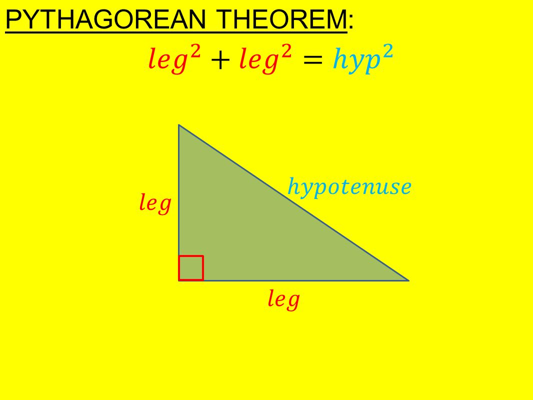 pythagorean theorem basic trigonometry 1 chapter 6: the pythagorean theorem & right triangle trigonometry right triangles have played a part in the story of humankind extending back to the.