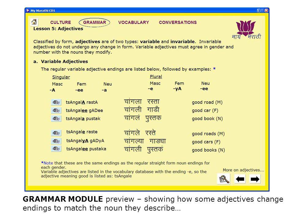 changes word in marathi