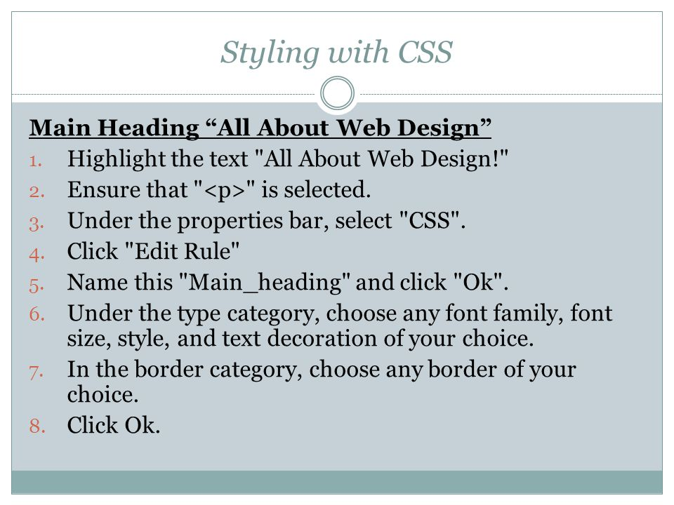 Styling with CSS Main Heading All About Web Design 1.
