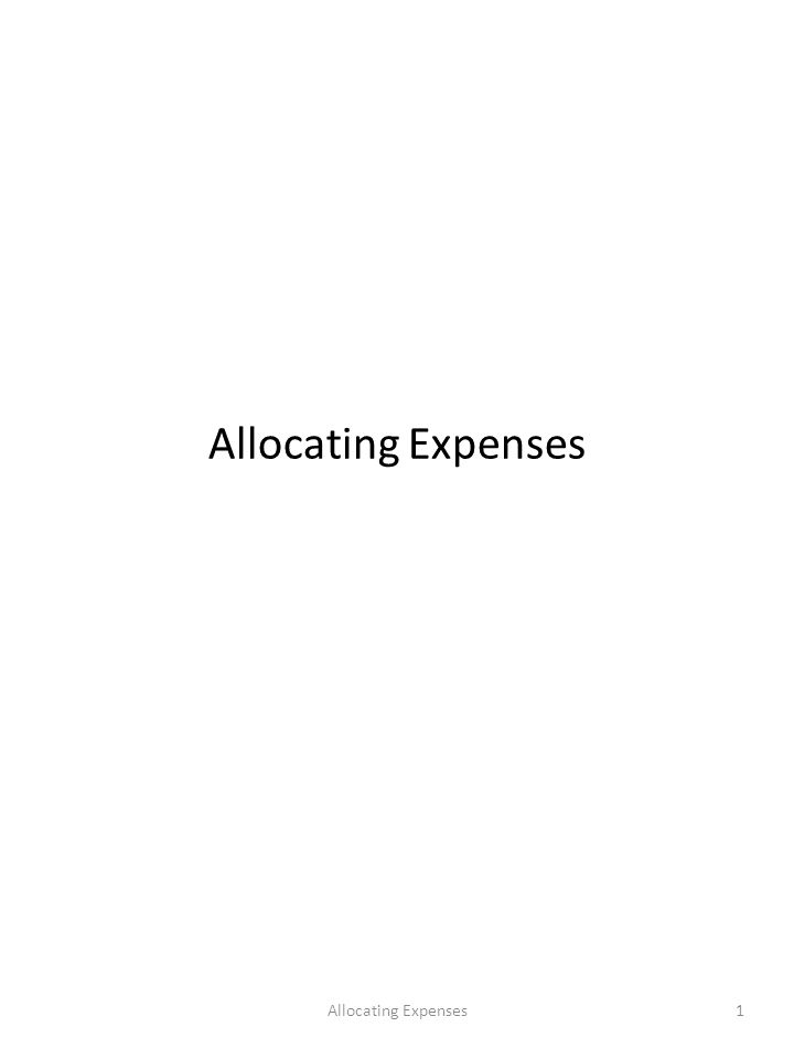1Allocating Expenses