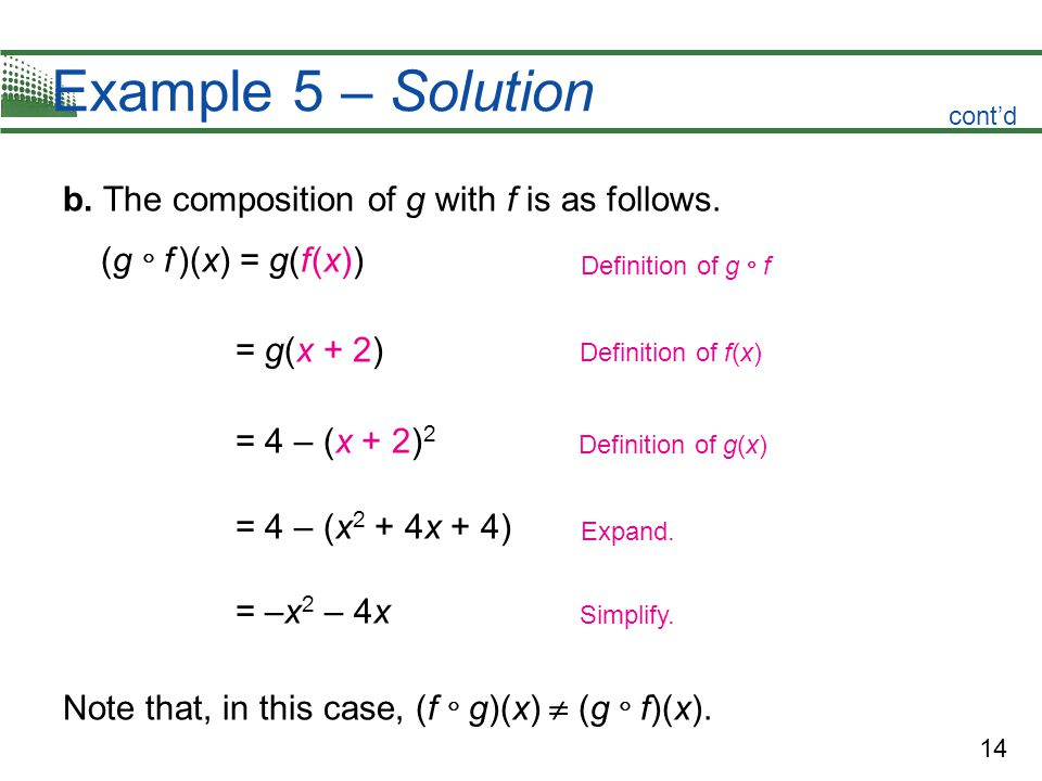 14 Example 5 – Solution b. The composition of g with f is as follows.