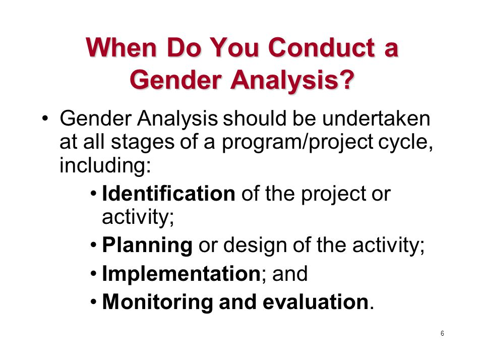 When Do You Conduct a Gender Analysis.