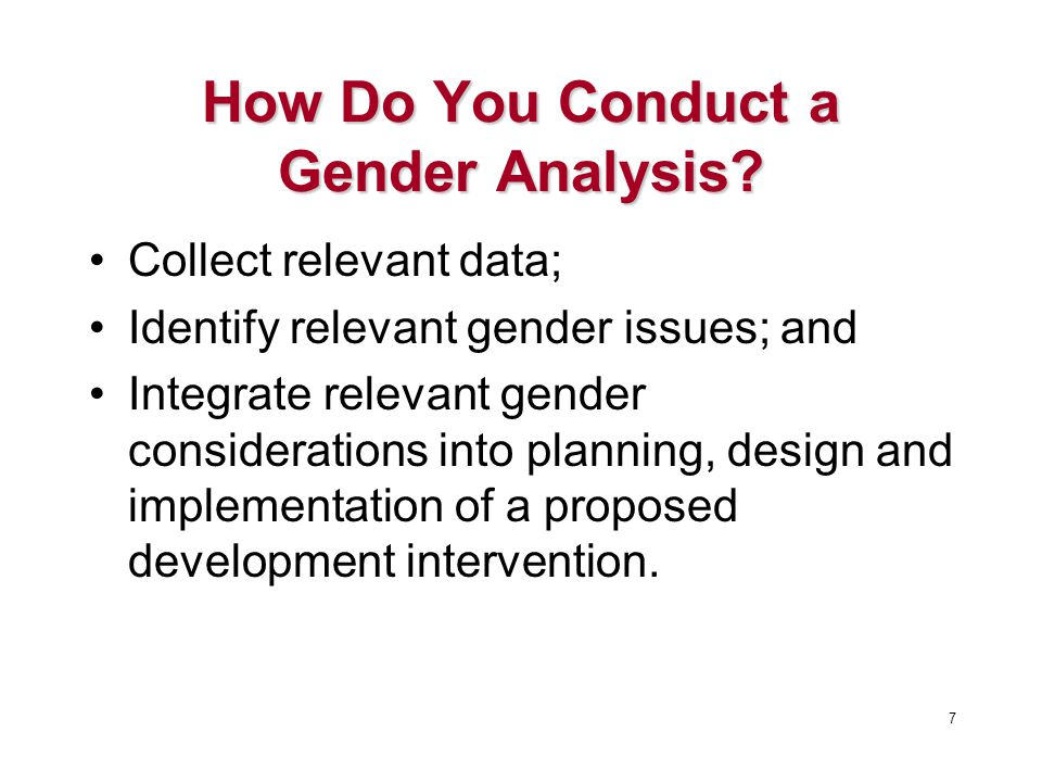 How Do You Conduct a Gender Analysis.