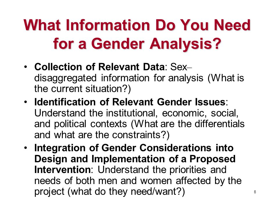 What Information Do You Need for a Gender Analysis.