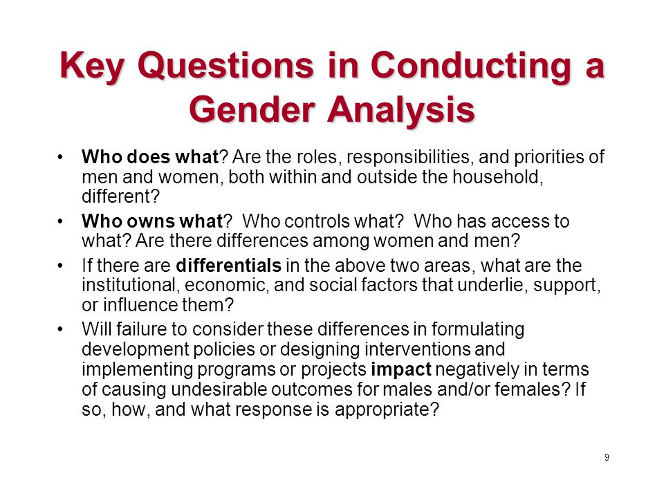 Key Questions in Conducting a Gender Analysis Who does what.