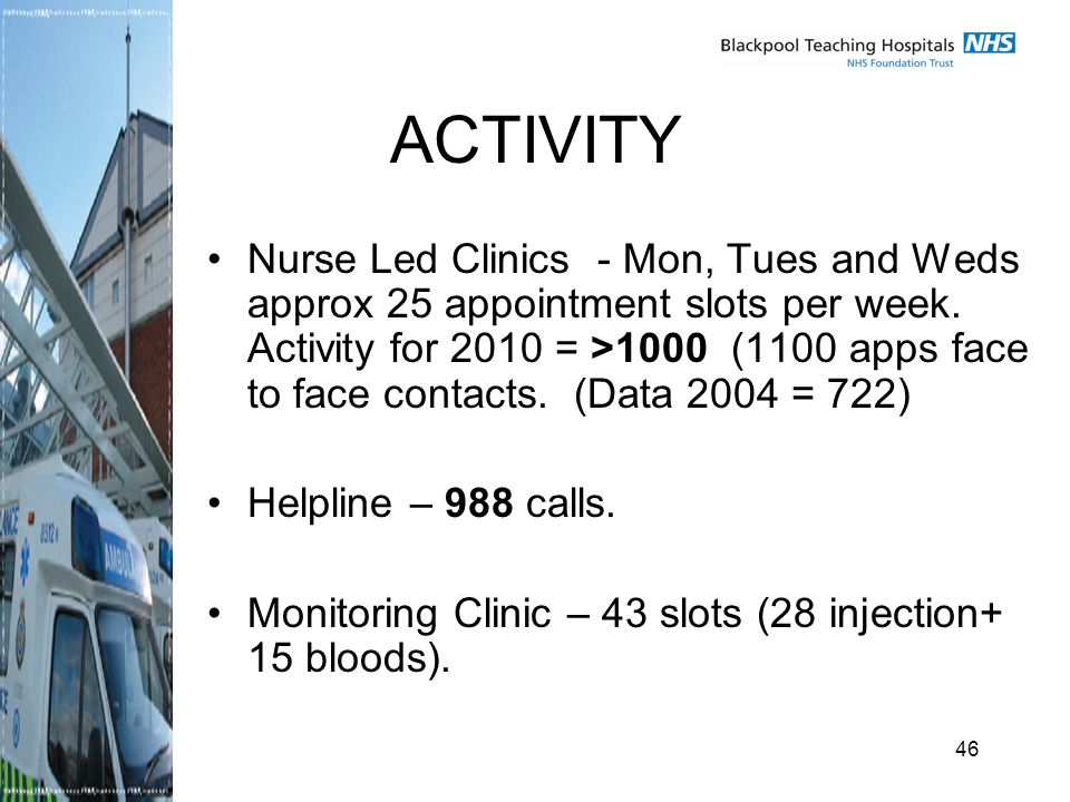 46 ACTIVITY Nurse Led Clinics - Mon, Tues and Weds approx 25 appointment slots per week.