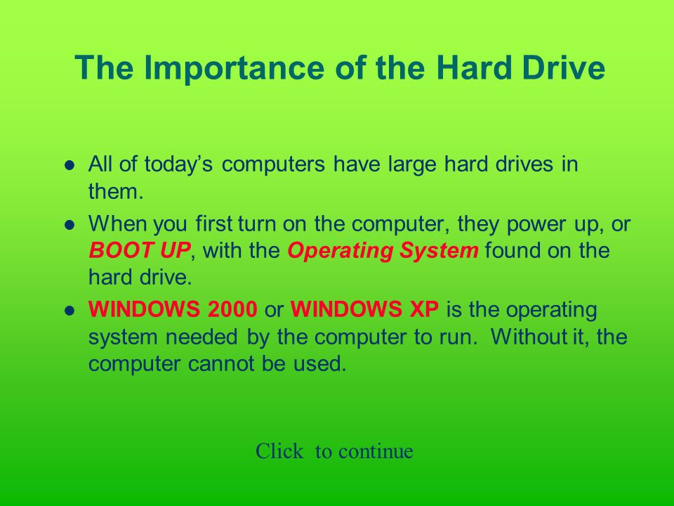 The Importance of the Hard Drive All of today's computers have large hard drives in them.