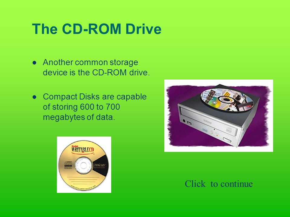 The CD-ROM Drive Another common storage device is the CD-ROM drive.