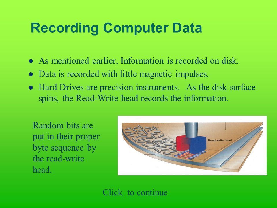 Recording Computer Data As mentioned earlier, Information is recorded on disk.