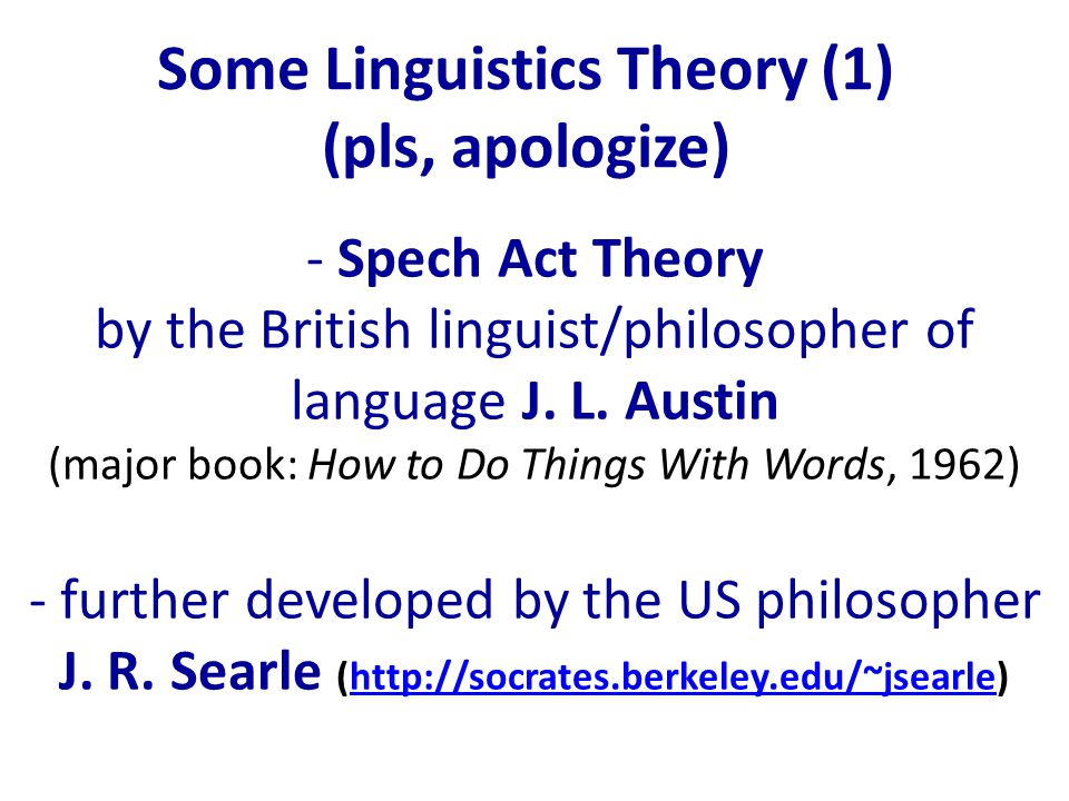 Some Linguistics Theory (1) (pls, apologize) - Spech Act Theory by the British linguist/philosopher of language J.