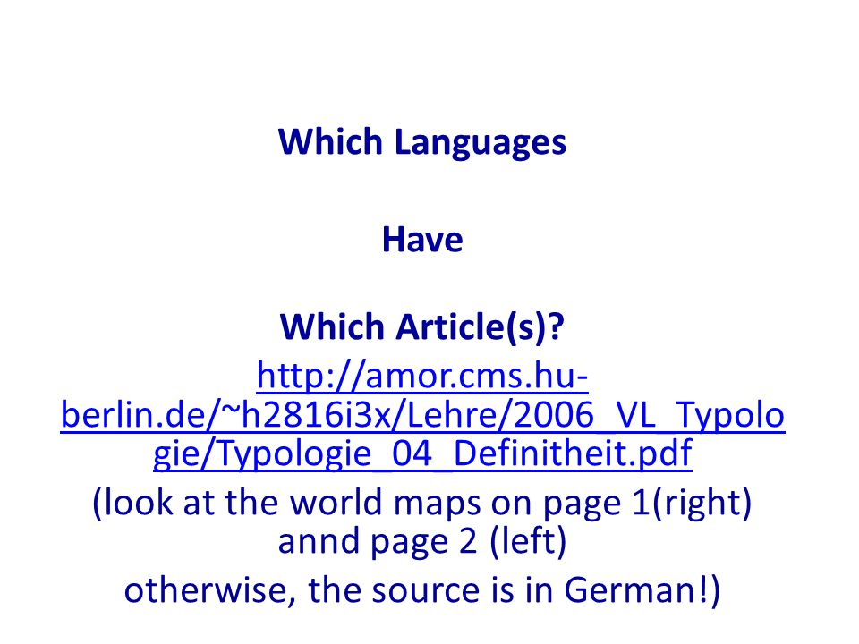 Which Languages Have Which Article(s).