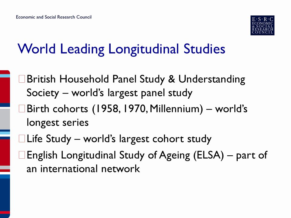 World Leading Longitudinal Studies ▶ British Household Panel Study & Understanding Society – world's largest panel study ▶ Birth cohorts (1958, 1970, Millennium) – world's longest series ▶ Life Study – world's largest cohort study ▶ English Longitudinal Study of Ageing (ELSA) – part of an international network