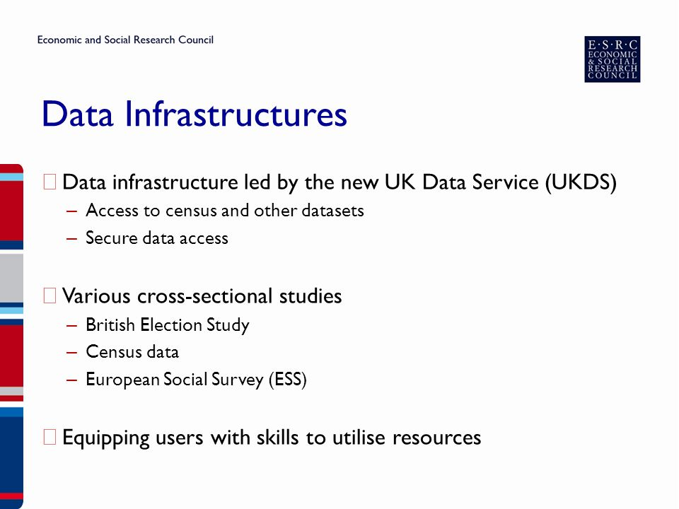 Data Infrastructures ▶ Data infrastructure led by the new UK Data Service (UKDS) – Access to census and other datasets – Secure data access ▶ Various cross-sectional studies – British Election Study – Census data – European Social Survey (ESS) ▶ Equipping users with skills to utilise resources