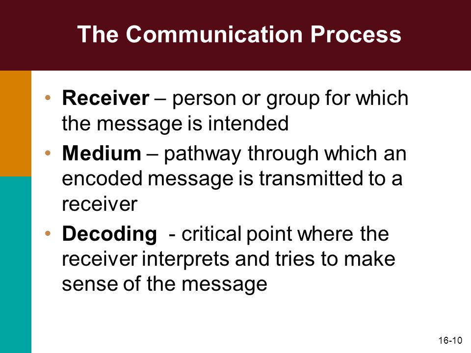 16-10 The Communication Process Receiver – person or group for which the message is intended Medium – pathway through which an encoded message is transmitted to a receiver Decoding - critical point where the receiver interprets and tries to make sense of the message