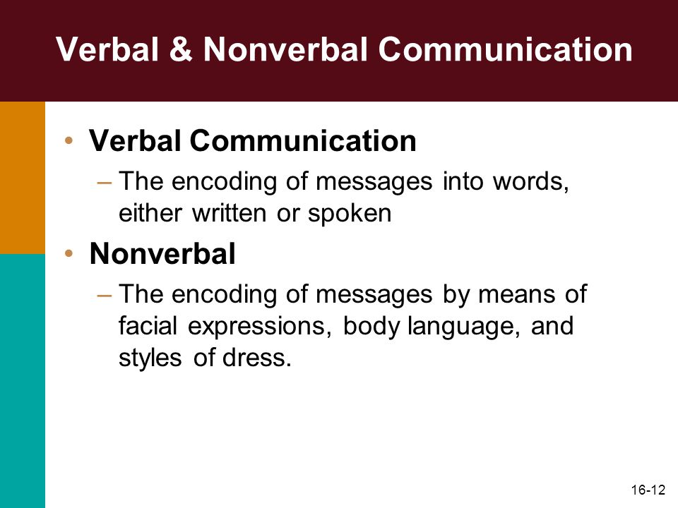 16-12 Verbal & Nonverbal Communication Verbal Communication –The encoding of messages into words, either written or spoken Nonverbal –The encoding of messages by means of facial expressions, body language, and styles of dress.