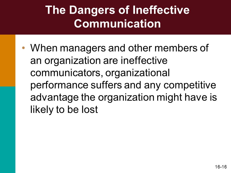 16-16 The Dangers of Ineffective Communication When managers and other members of an organization are ineffective communicators, organizational performance suffers and any competitive advantage the organization might have is likely to be lost