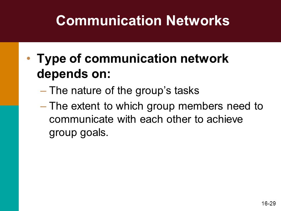 16-29 Communication Networks Type of communication network depends on: –The nature of the group's tasks –The extent to which group members need to communicate with each other to achieve group goals.