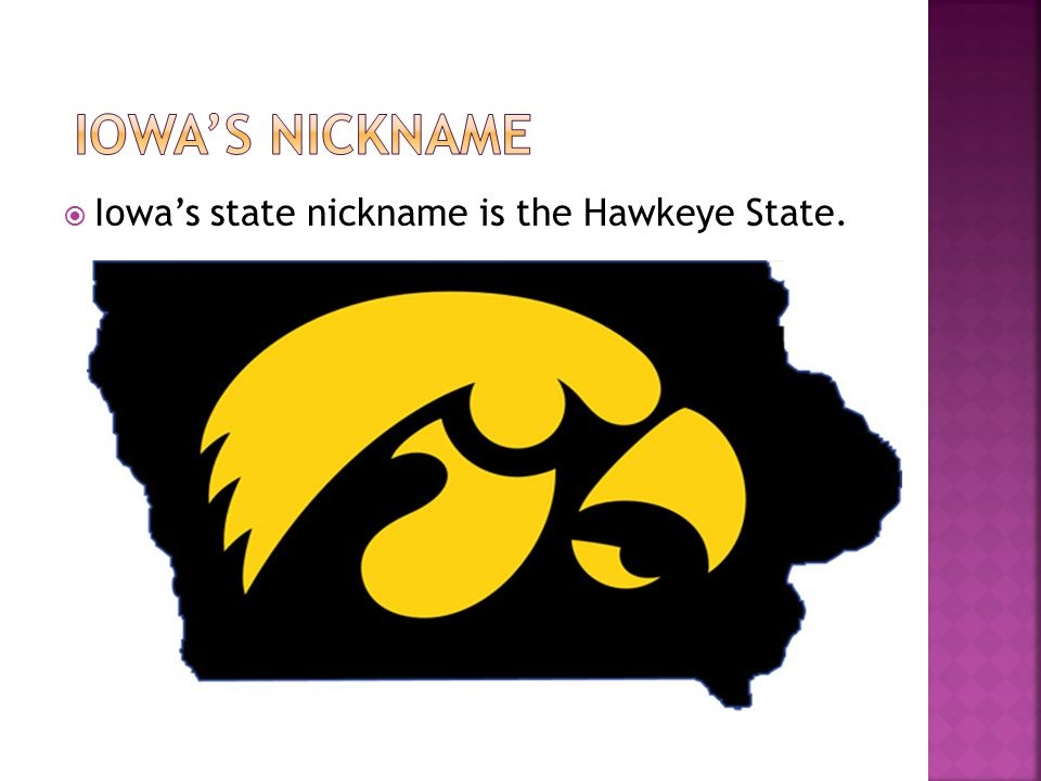  Iowa's state nickname is the Hawkeye State.