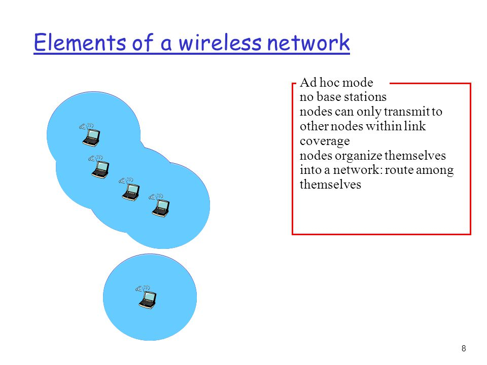 8 Elements of a wireless network Ad hoc mode no base stations nodes can only transmit to other nodes within link coverage nodes organize themselves into a network: route among themselves