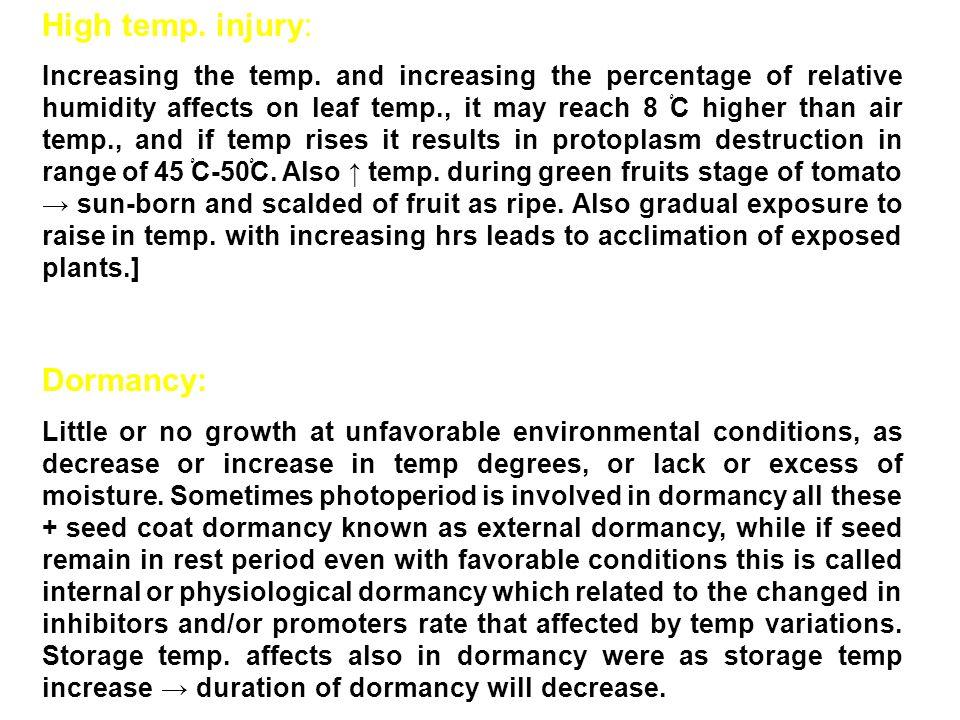 High temp.injury: Increasing the temp.