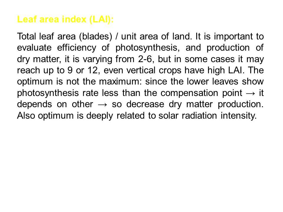 Leaf area index (LAI): Total leaf area (blades) / unit area of land.