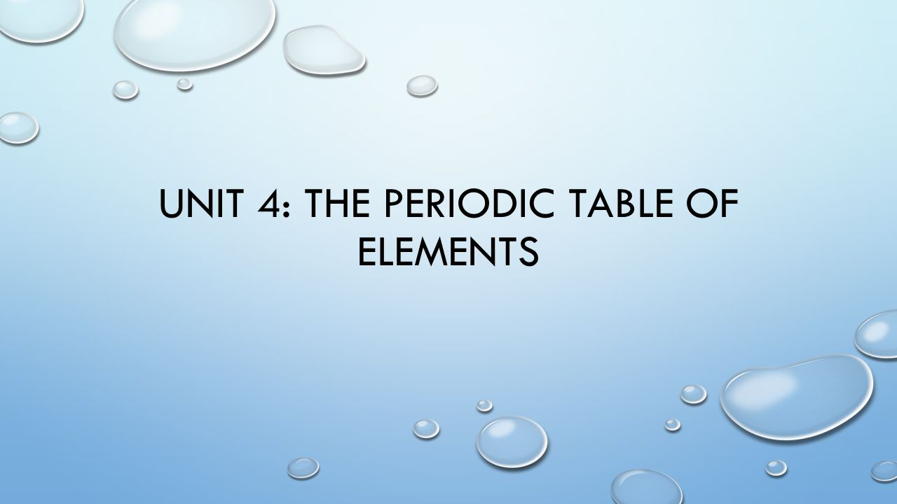 Unit 4 the periodic table of elements unit 4 periodic table of 1 unit 4 the periodic table of elements gamestrikefo Images