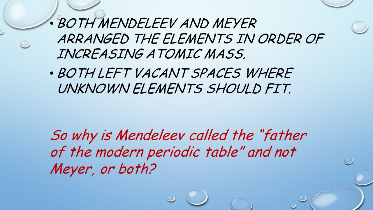 Differences between mendeleev and modern periodic table image unit 4 the periodic table of elements unit 4 periodic table of both mendeleev and meyer gamestrikefo Images