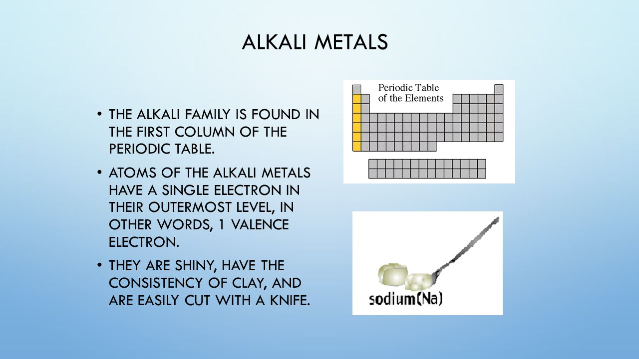 Unit 4 the periodic table of elements unit 4 periodic table of 38 alkali metals the alkali family is found in the first column of the periodic table gamestrikefo Gallery