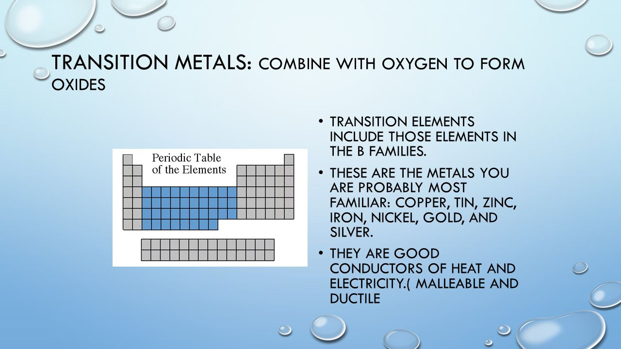 Unit 4 the periodic table of elements unit 4 periodic table of transition metals combine with oxygen to form oxides transition elements include those elements in the gamestrikefo Image collections