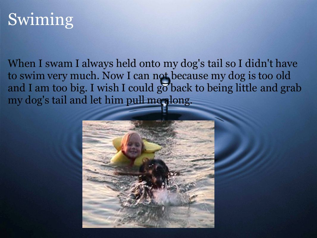 Swiming When I swam I always held onto my dog s tail so I didn t have to swim very much.