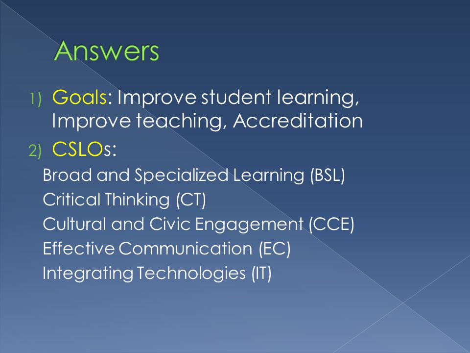 1) Goals: Improve student learning, Improve teaching, Accreditation 2) CSLOs: Broad and Specialized Learning (BSL) Critical Thinking (CT) Cultural and Civic Engagement (CCE) Effective Communication (EC) Integrating Technologies (IT)