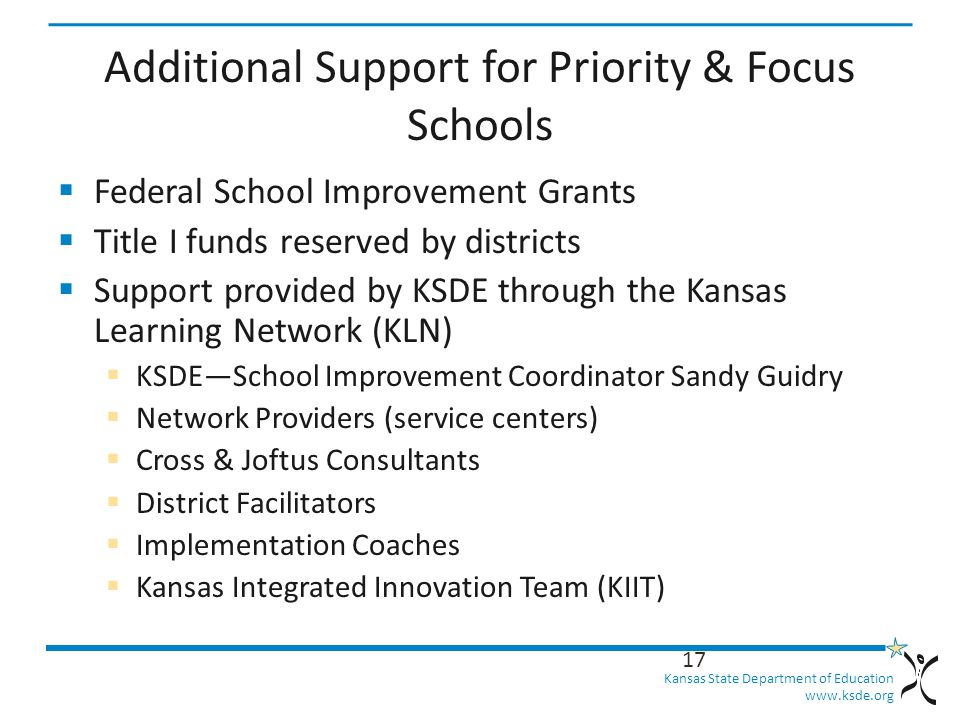 Kansas State Department of Education   Additional Support for Priority & Focus Schools  Federal School Improvement Grants  Title I funds reserved by districts  Support provided by KSDE through the Kansas Learning Network (KLN)  KSDE—School Improvement Coordinator Sandy Guidry  Network Providers (service centers)  Cross & Joftus Consultants  District Facilitators  Implementation Coaches  Kansas Integrated Innovation Team (KIIT) 17