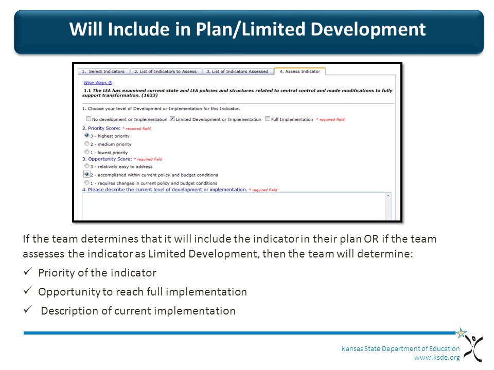 Kansas State Department of Education   Will Include in Plan/Limited Development If the team determines that it will include the indicator in their plan OR if the team assesses the indicator as Limited Development, then the team will determine: Priority of the indicator Opportunity to reach full implementation Description of current implementation