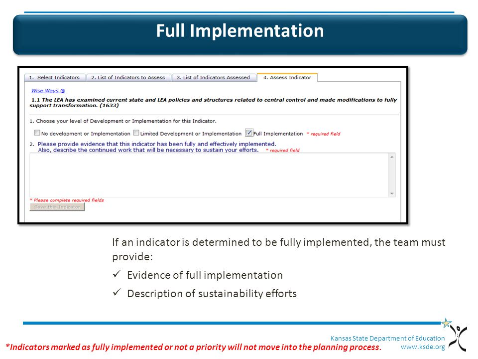 Kansas State Department of Education   Full Implementation If an indicator is determined to be fully implemented, the team must provide: Evidence of full implementation Description of sustainability efforts *Indicators marked as fully implemented or not a priority will not move into the planning process.