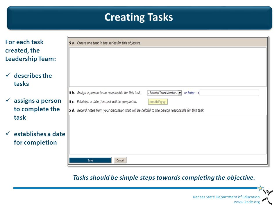 Kansas State Department of Education   Creating Tasks For each task created, the Leadership Team: describes the tasks assigns a person to complete the task establishes a date for completion Tasks should be simple steps towards completing the objective.