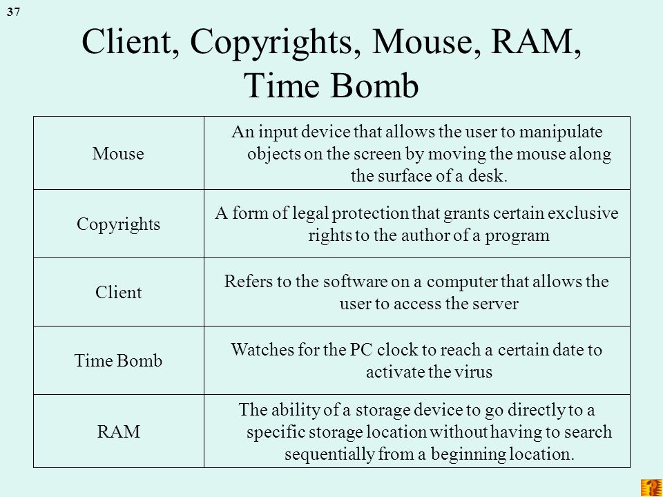 37 Client, Copyrights, Mouse, RAM, Time Bomb The ability of a storage device to go directly to a specific storage location without having to search sequentially from a beginning location.
