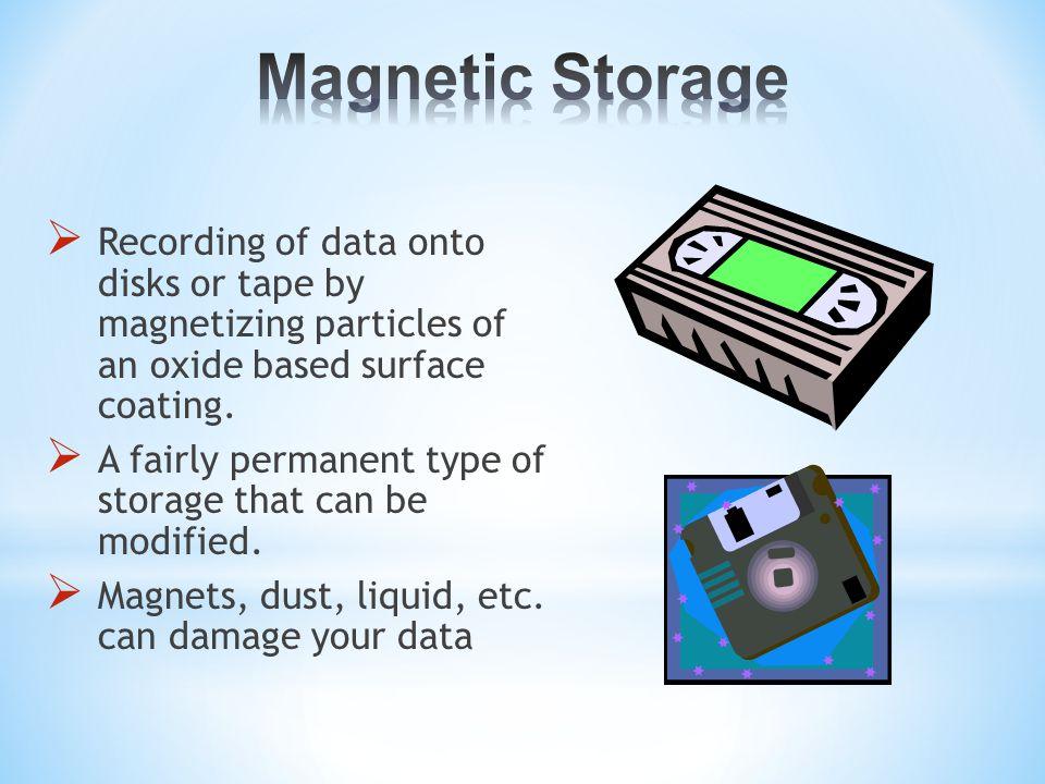  Recording of data onto disks or tape by magnetizing particles of an oxide based surface coating.