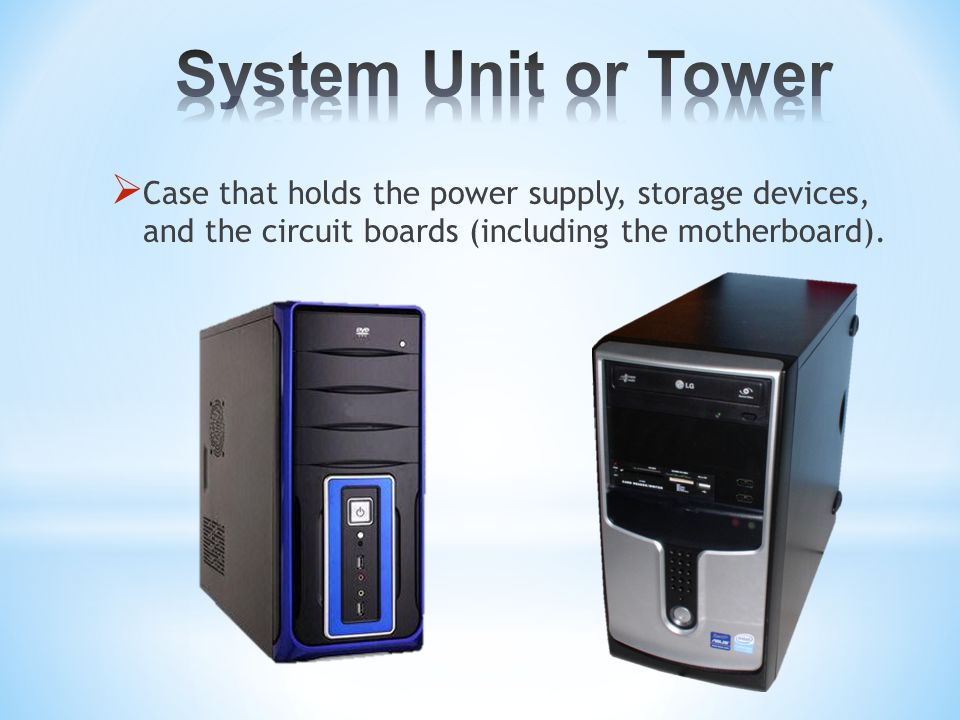  Case that holds the power supply, storage devices, and the circuit boards (including the motherboard).
