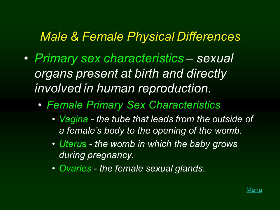 Male & Female Physical Differences Primary sex characteristicsPrimary sex characteristics – sexual organs present at birth and directly involved in hu