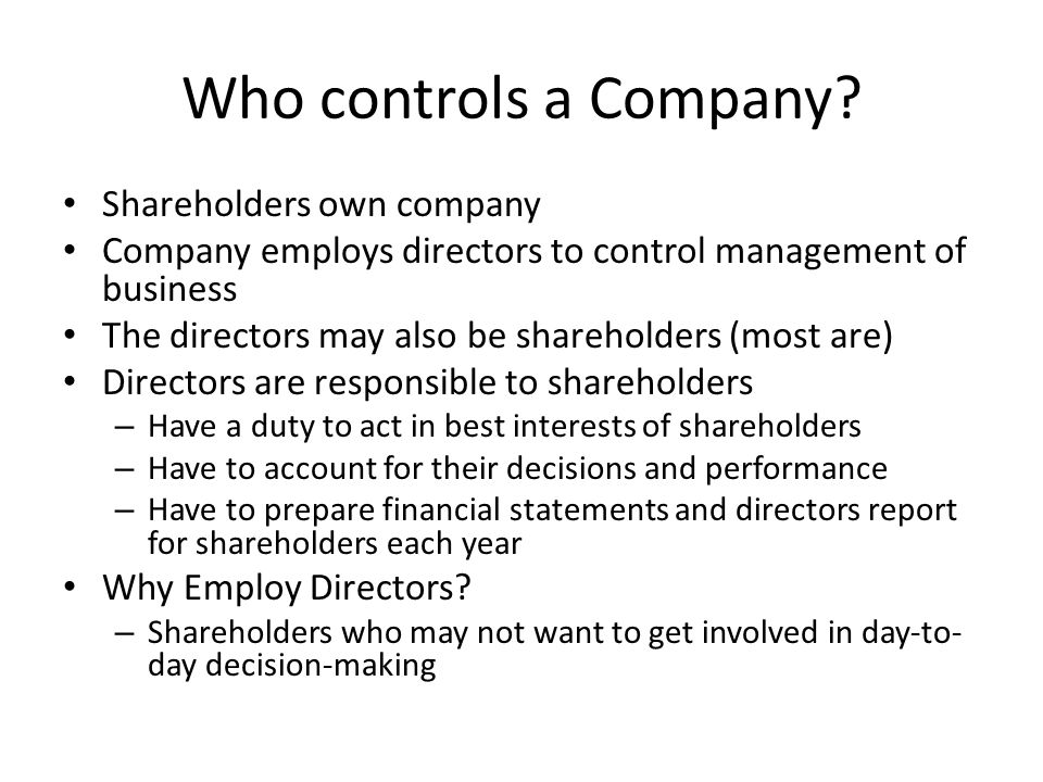Who controls a Company.