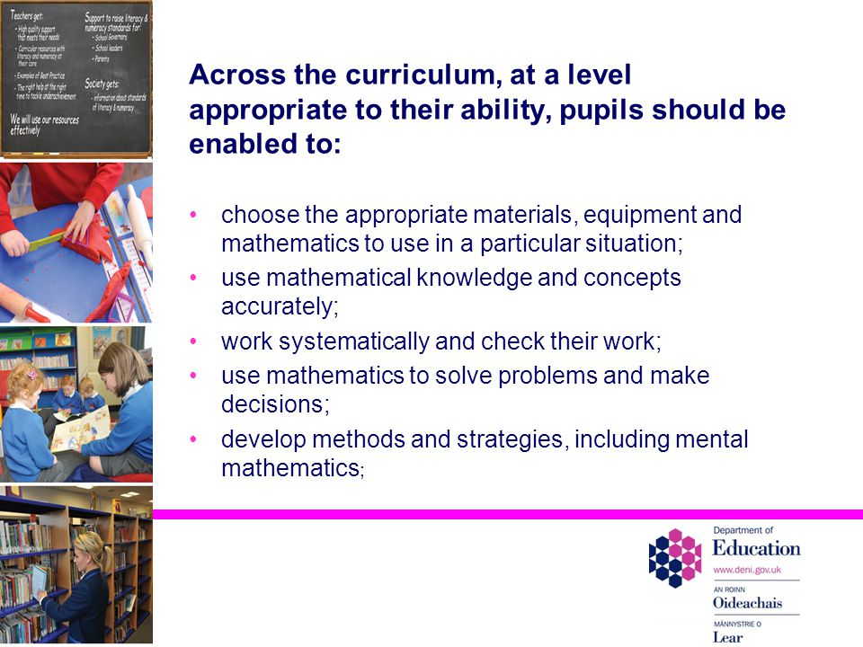 Across the curriculum, at a level appropriate to their ability, pupils should be enabled to: choose the appropriate materials, equipment and mathematics to use in a particular situation; use mathematical knowledge and concepts accurately; work systematically and check their work; use mathematics to solve problems and make decisions; develop methods and strategies, including mental mathematics ;