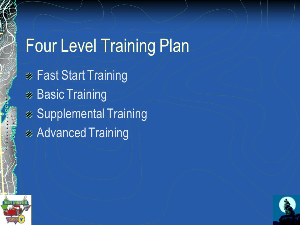 Four Level Training Plan Fast Start Training Basic Training Supplemental Training Advanced Training