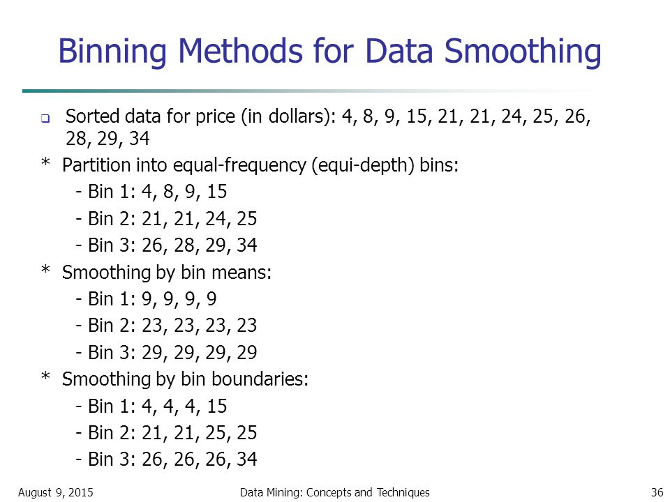 August 9, 2015Data Mining: Concepts and Techniques36 Binning Methods for Data Smoothing  Sorted data for price (in dollars): 4, 8, 9, 15, 21, 21, 24, 25, 26, 28, 29, 34 * Partition into equal-frequency (equi-depth) bins: - Bin 1: 4, 8, 9, 15 - Bin 2: 21, 21, 24, 25 - Bin 3: 26, 28, 29, 34 * Smoothing by bin means: - Bin 1: 9, 9, 9, 9 - Bin 2: 23, 23, 23, 23 - Bin 3: 29, 29, 29, 29 * Smoothing by bin boundaries: - Bin 1: 4, 4, 4, 15 - Bin 2: 21, 21, 25, 25 - Bin 3: 26, 26, 26, 34