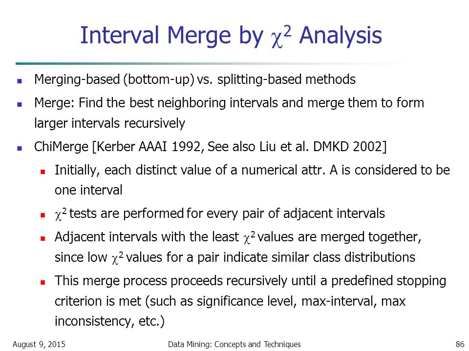 August 9, 2015Data Mining: Concepts and Techniques86 Interval Merge by  2 Analysis Merging-based (bottom-up) vs.