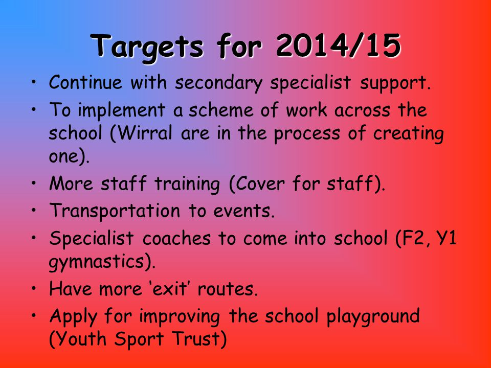 Targets for 2014/15 Continue with secondary specialist support.