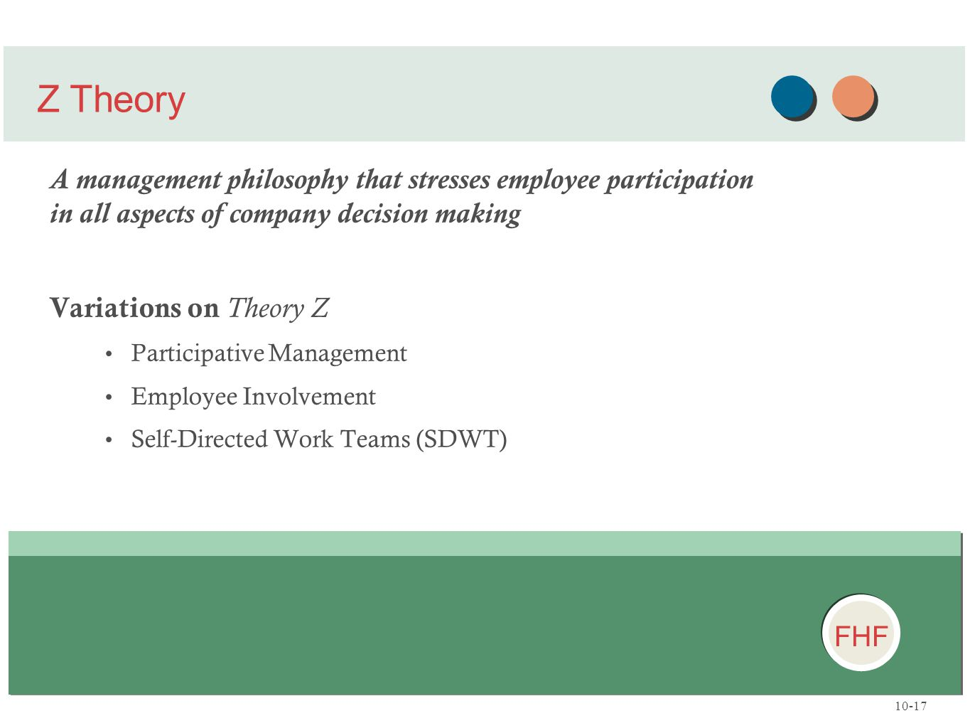 FHF A management philosophy that stresses employee participation in all aspects of company decision making Variations on Theory Z Participative Manage