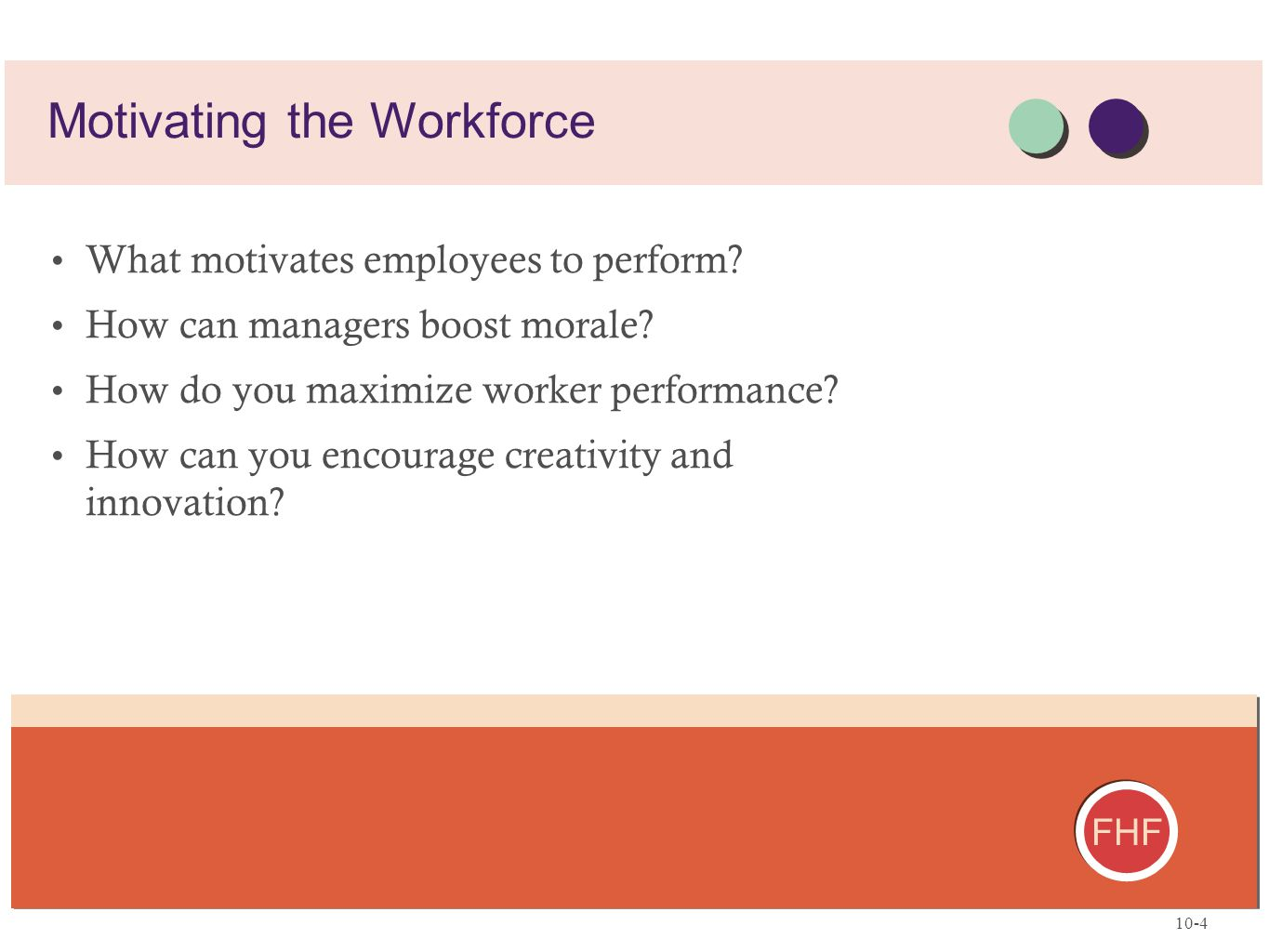 FHF What motivates employees to perform? How can managers boost morale? How do you maximize worker performance? How can you encourage creativity and i